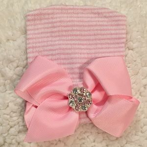 Other - .Newborn Girl Hospital Beanie Pink Big Bow & Gems.